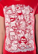 náhled - Doodle červené dámské tričko