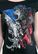 náhled - Hokejový lev černé dámské tričko lodičkové