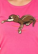 náhled - Spící pes fuchsiové dámské tričko