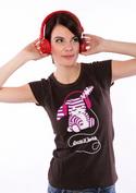 náhled - Drum'n'bass hnědé dámské tričko