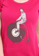 náhled - Na čem ujíždíš fuchsiové dámské tričko