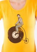 náhled - Na čem ujíždíš žluté dámské tričko