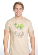 náhled - Zapnuto vypnuto hnědé pánské tričko