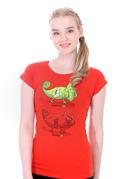náhled - Zapnuto vypnuto červené dámské tričko