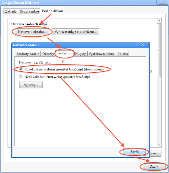 Návod - jak povolit javascript - záložka JavaScript