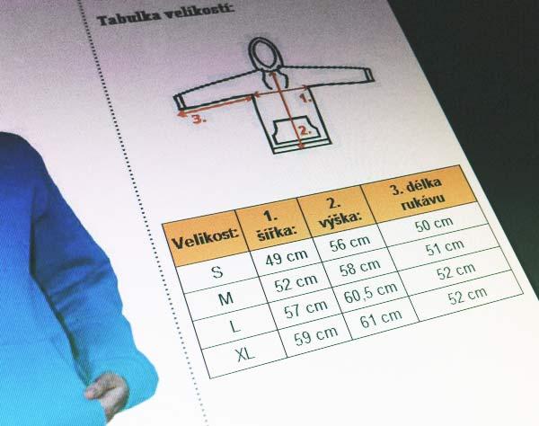 Náhled umístění velikostní tabulky u konkrétního zboží