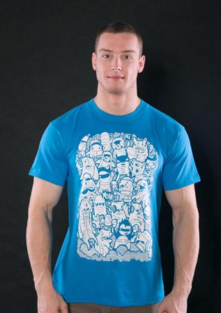 Doodle modré pánské tričko