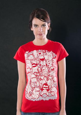 Doodle červené dámské tričko