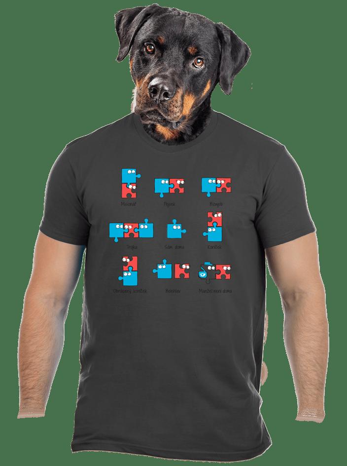 Puzzlesútra šedé pánské tričko
