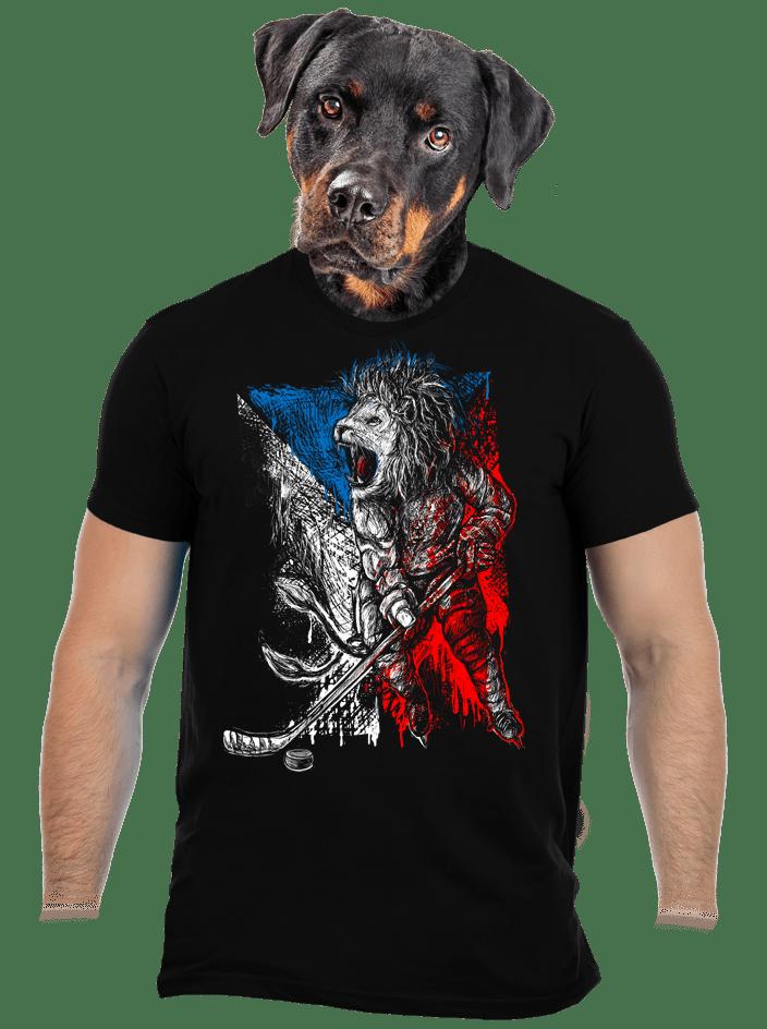 Hokejový lev černé pánské tričko