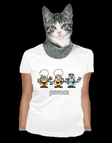 Pivoni bílé dámské tričko