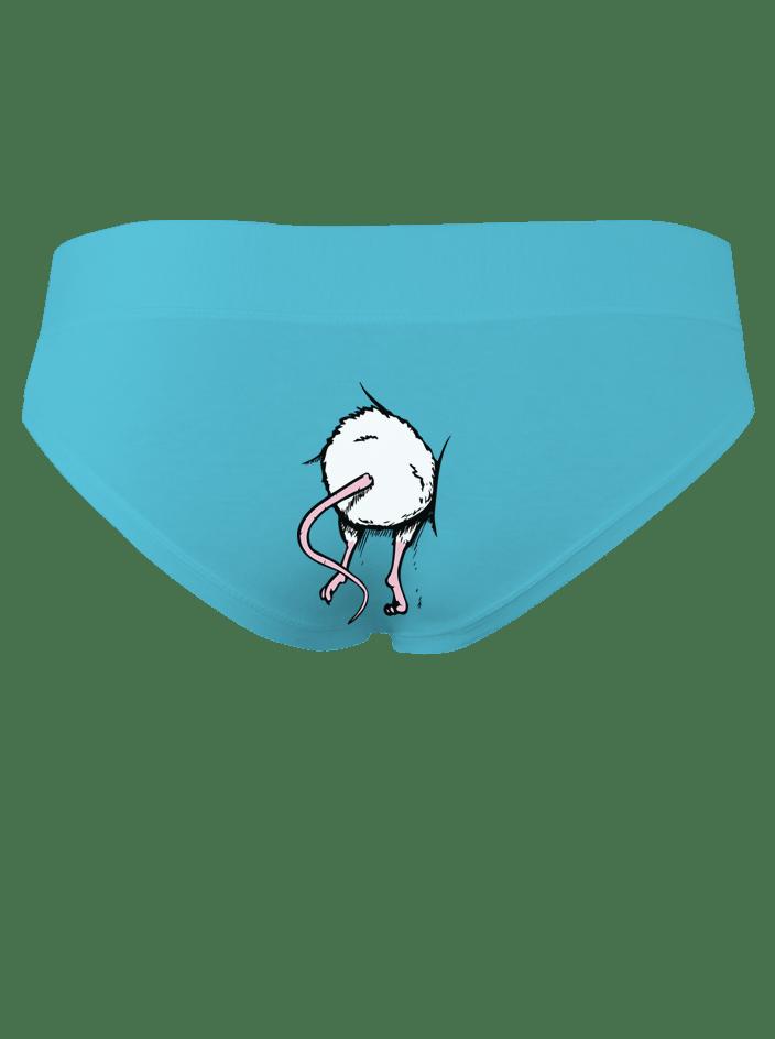 Myš v zadnici - tyrkysové kalhotky