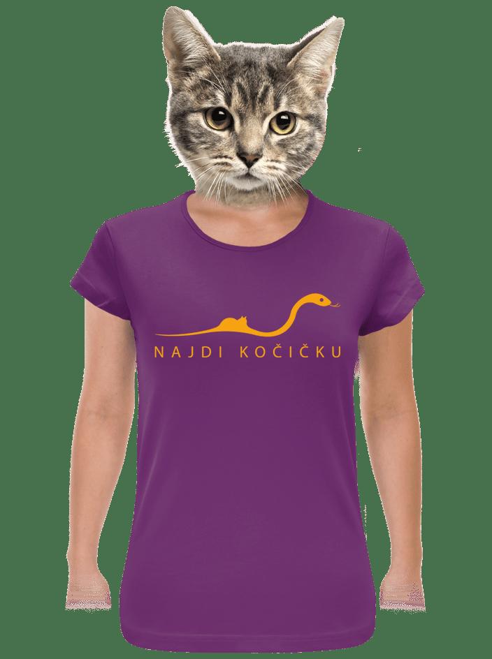 Najdi kočičku fialové dámské tričko