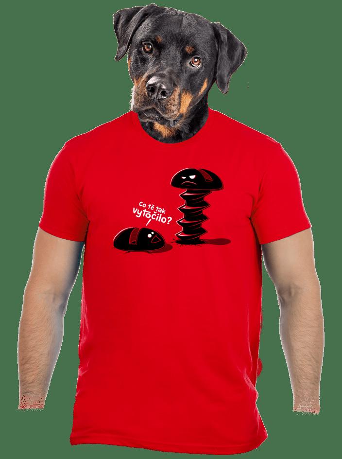 Vytočenej červené pánské tričko