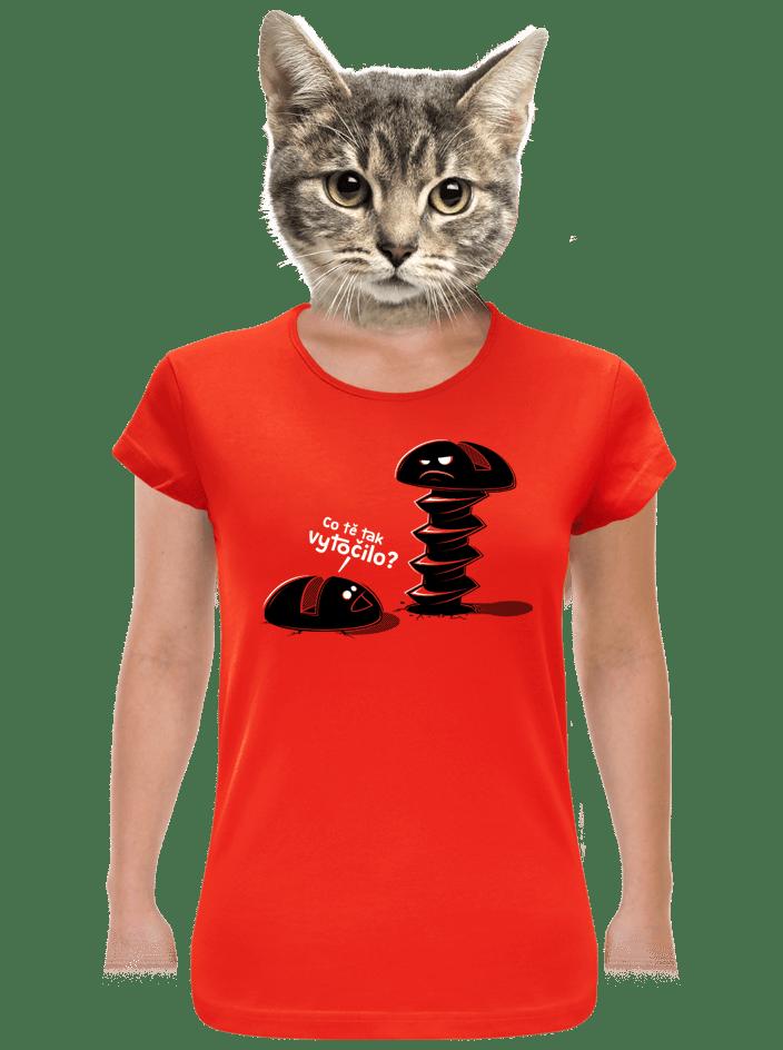 Vytočenej červené dámské tričko