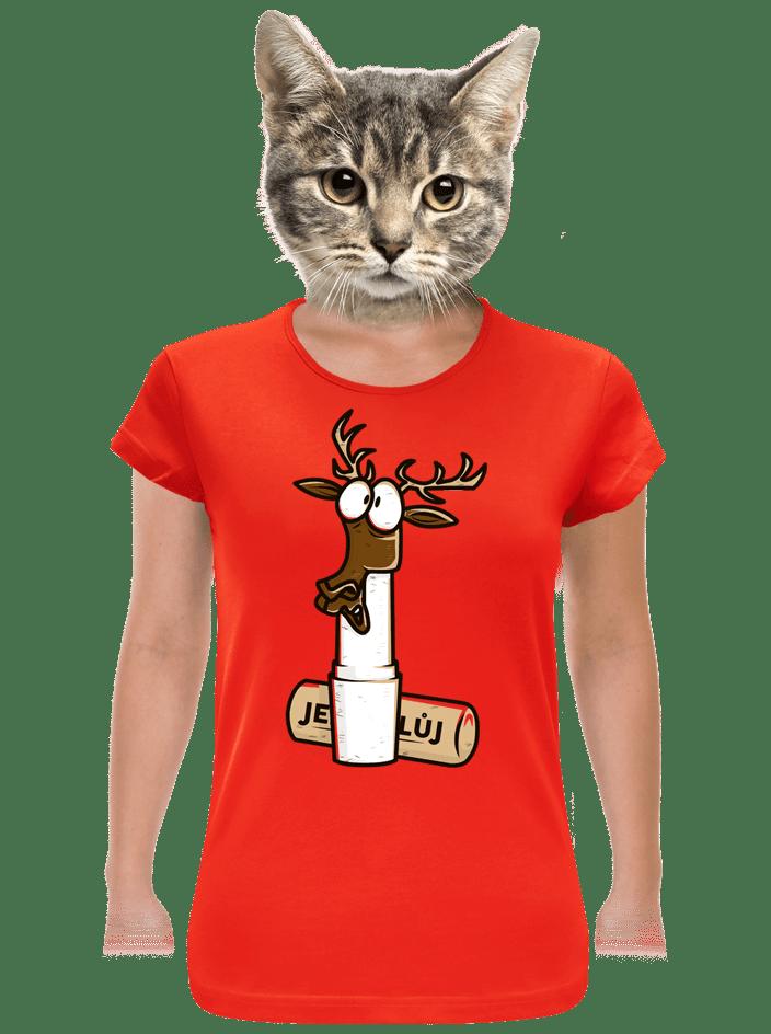 Jelení lůj červené dámské tričko