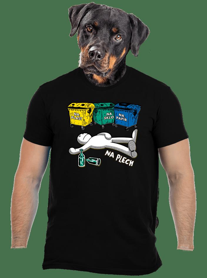 Tříděný odpad černé pánské tričko