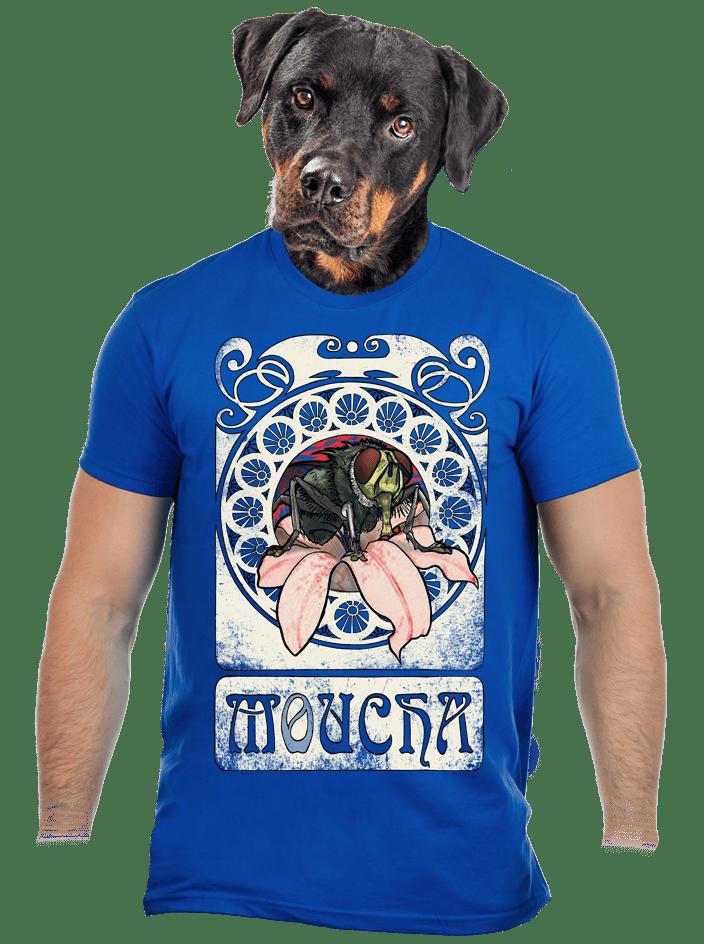 Moucha královsky modré pánské tričko