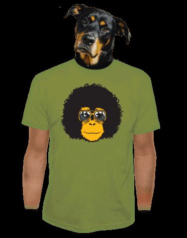 Retro opičák zelené pánské tričko