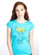 náhled - Zapnuto vypnuto modré dámské tričko