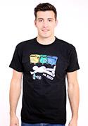 náhled - Tříděný odpad černé pánské tričko - starý střih