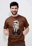 náhled - Lenochod hnědé pánské tričko