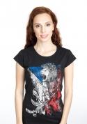 náhled - Hokejový lev černé dámské tričko klasik