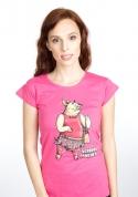 náhled - Vepřová panenka fuchsiové dámské tričko