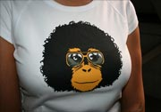náhled - Retro opičák bílé dámské tričko