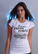 náhled - B 12 Zbožňuju pizzu Havaj bílé dámské tričko