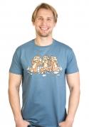 náhled - Trojnásobná opice modré pánské tričko