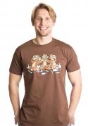 náhled - Trojnásobná opice hnědé pánské tričko