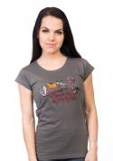 náhled - Zvrhlá šedé dámské tričko