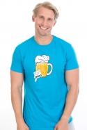 náhled - Velký pívo modré pánské tričko