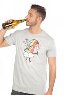 náhled - Piju jak duha šedé pánské tričko