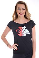 náhled - Anděl vs. ďábel černé dámské tričko lodičkové