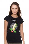 náhled - Bílé víno volá černé dámské BIO tričko