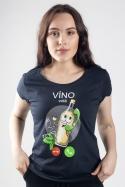 náhled - Bílé víno volá tmavě modré dámské tričko