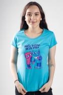 náhled - Roboti modré dámské tričko