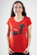 náhled - Vytočenej červené dámské tričko