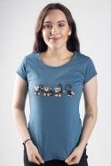 náhled - Opice modré dámské tričko