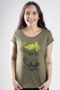 náhled - Zapnuto vypnuto khaki dámské tričko