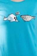 náhled - Leklá ryba modré dámské tričko
