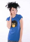 náhled - Retro opičák modré dámské tričko