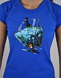 náhled - Migrující rybka modré dámské tričko