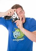 náhled - Fotobuňka modré pánské tričko