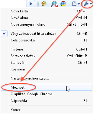 Návod - jak povolit javascript - Chrome - menu