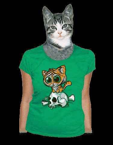 Tygřík zelené dámské tričko