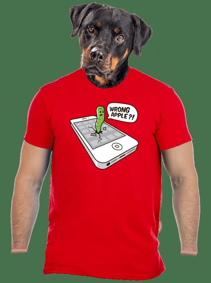 Wrong Apple červené pánské tričko