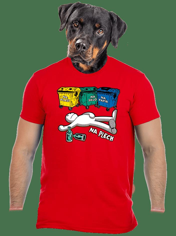 Tříděný odpad červené pánské tričko